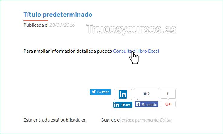 Vista previa de la entrada o post con enlace al archivo Excel