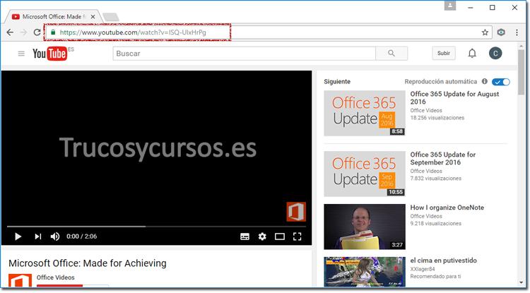 Navegador de Internet con la URL de YouTube deseada