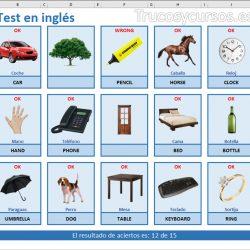 Test de palabras en inglés de Excel