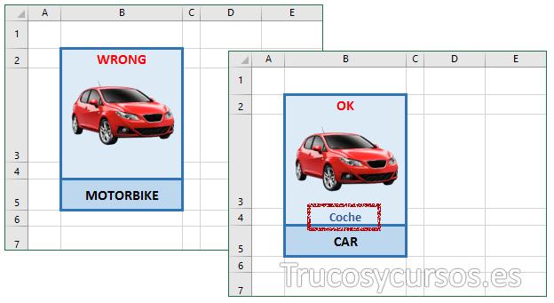 Celda B5 con el texto correcto CAR y sin él y traducción en B4