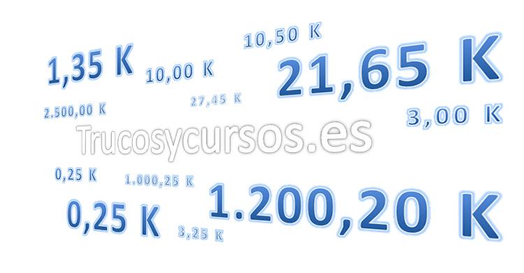 Formato numérico de mil en valores Excel