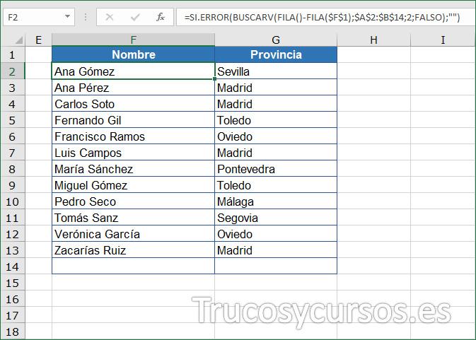 Hoja Excel con fórmula anidada en F2, mostrando el nombre ordenado