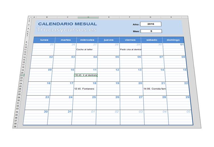 Crear un calendario mensual en Excel para notas