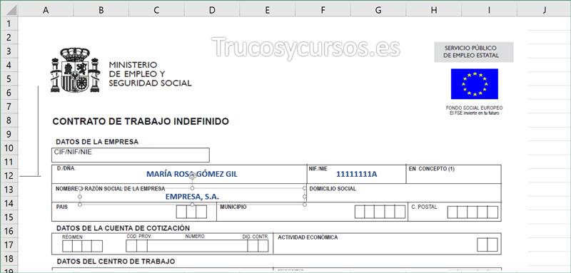 Documento mostrando los datos desde Hoja1