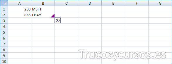 Celda B2 con etiqueta inteligente (triángulo purpura)