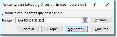 Asistente para tablas dinámicas en Excel, Paso 2