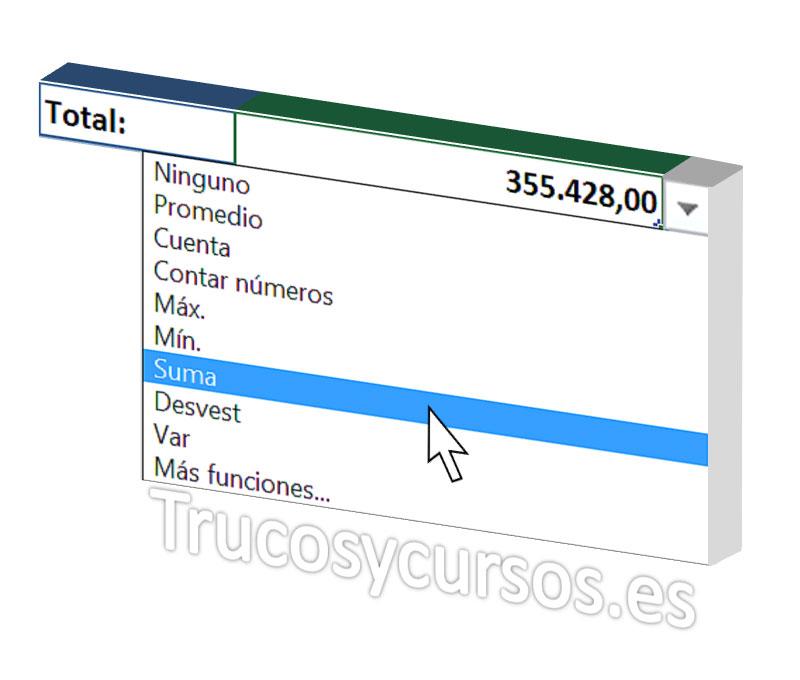Operaciones con filtro de tablas Excel
