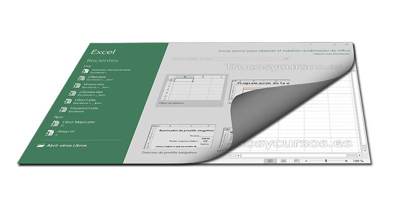 Deshabilitar la pantalla de inicio Excel