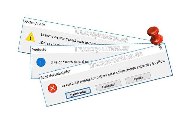 Los mensajes de error en la validación de datos Excel