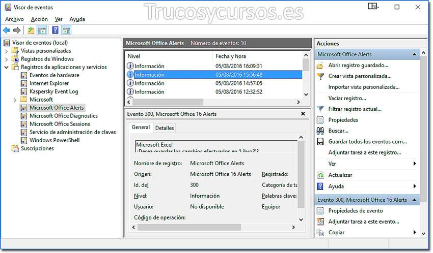 Ventana para Exportar los registros del visor de eventos de Windows a Excel