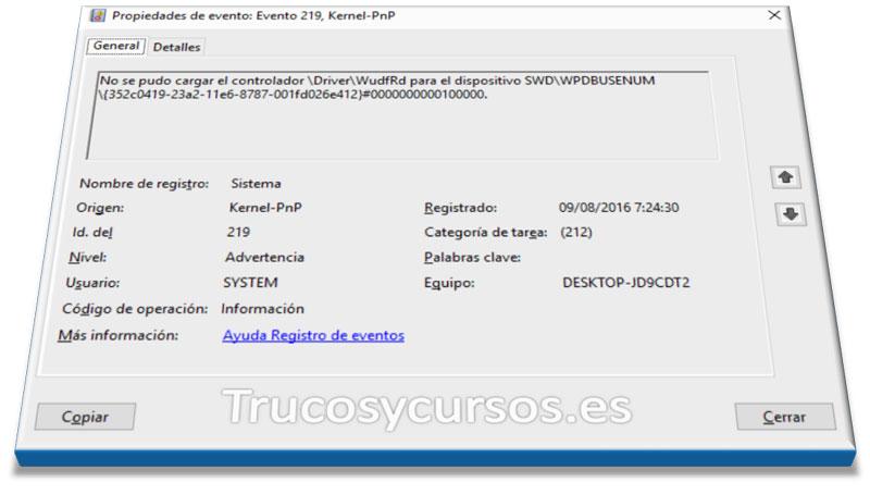 Exportar los registros del visor de eventos de Windows a Excel