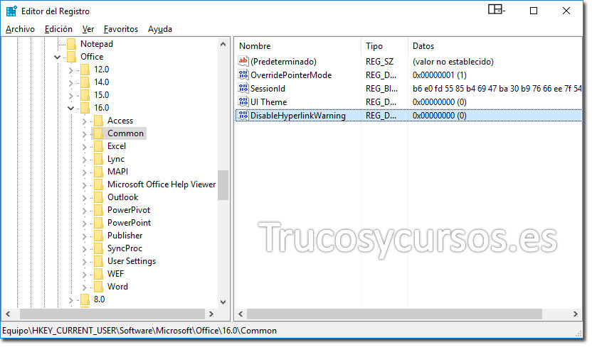 Registro de Windows con subclave Common