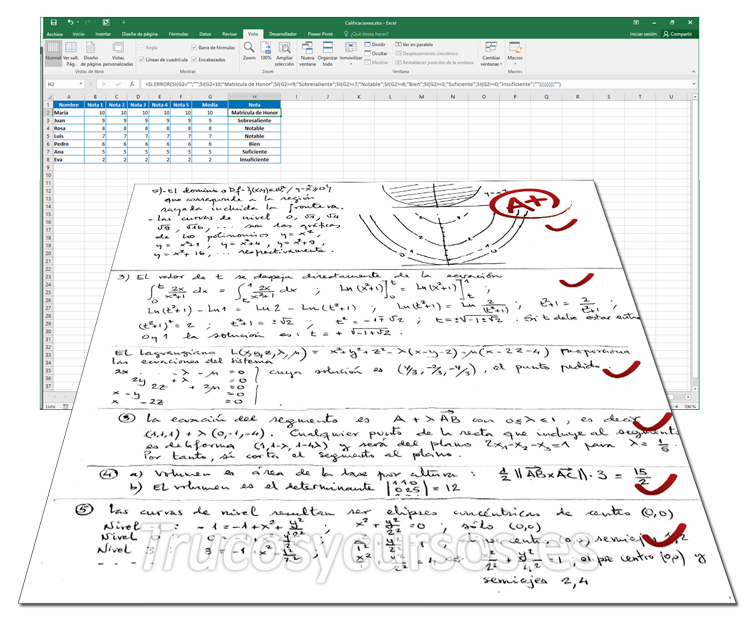Notas y Calificaciones para examen de alumnos en Excel