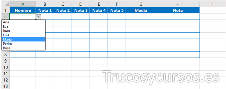 Celda A2 con validación lista para seleccionar el nombre del alumno Excel