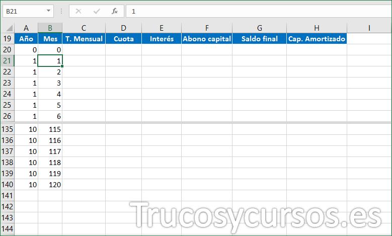 Hoja Excel con fórmula para el Mes del préstamo