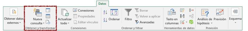 Cinta de opciones y pestaña de datos de Excel 2016