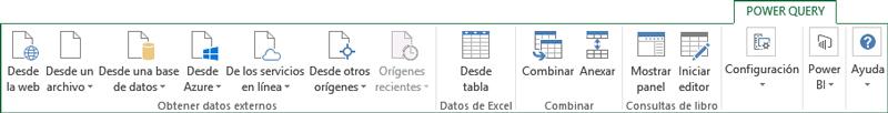 Cinta de opciones, pestaña Power Query para Excel 2010 y 2013