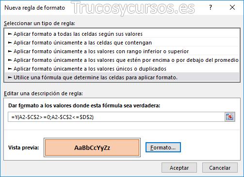Remarcar vencimiento de fechas en Excel: Ventana nueva regla de formato Excel