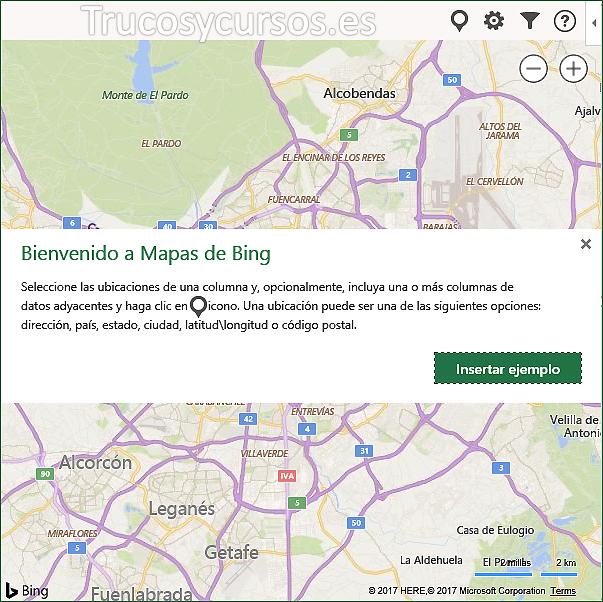 Ventana de Bienvenido a Mapas de Bing