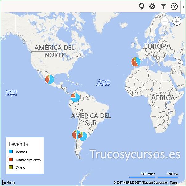 Vista de mapa Bing con gráficos de nuestros datos Excel