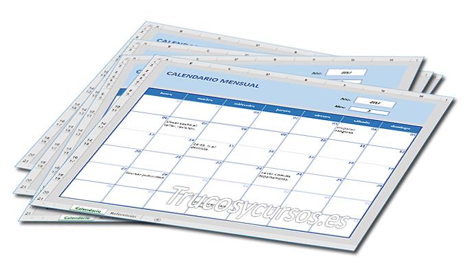Crear un calendario mensual en Excel para notas de años (perpetuo)