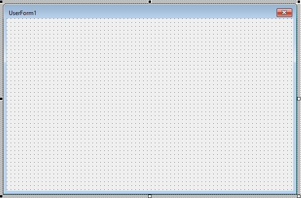 Editor de VB mostrando el área del userform