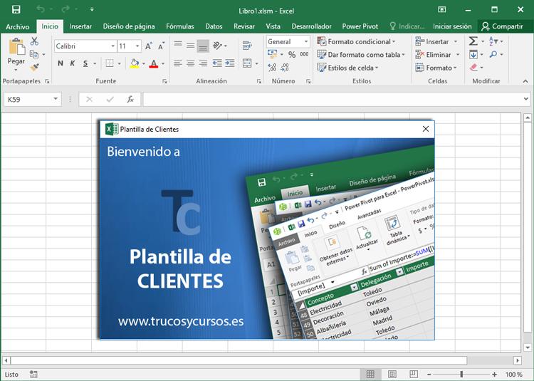 Pantalla de bienvenida al abrir libro Excel