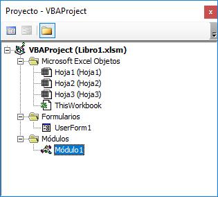 Panel de proyecto con el objeto Módulo seleccionado
