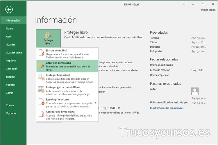 Ventana de Backstage Excel con la categoría Información para cifrar con contenido