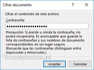 Ventana de cifrar documento
