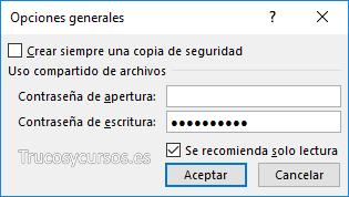 Ventana opciones generales de Excel
