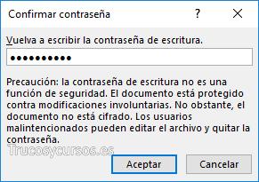 Ventana confirmar contraseña en Excel