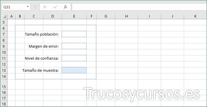 Hoja Excel con encabezados o rótulos