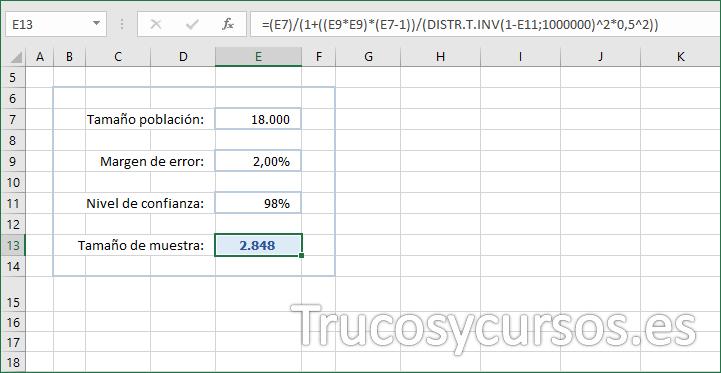 Hoja Excel con entrada de datos