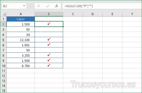 Excel mostrando símbolos para valor mayor de 100