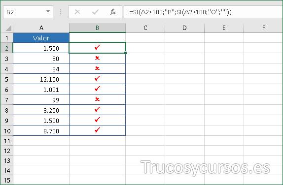 Excel mostrando símbolos para valor mayor de 100 y para menor 100