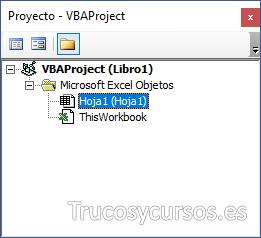 Panel de proyecto con el objeto Hoja1 seleccionado