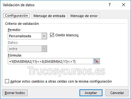 Ventana de configuración en validación de datos