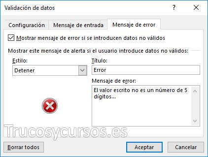 Ventana de mensaje de error en validación de datos