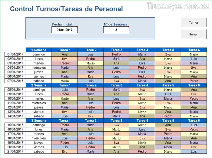 Asigna turnos / tareas a trabajadores para el mes en Excel