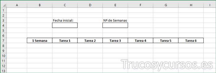 Hoja Excel mostrando los encabezados
