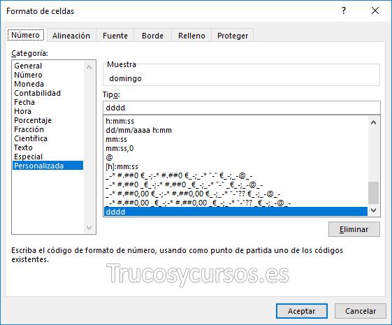 Ventana formato Excel: tipo dddd