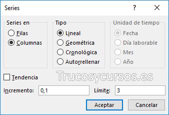 Ventana de series en Excel para columnas
