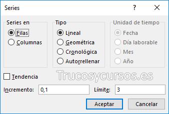 Ventana de series en Excel para filas