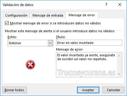 Ventana validación de datos mensaje de error