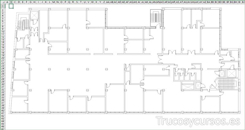 Plano de superficie de nuestra oficina en Excel