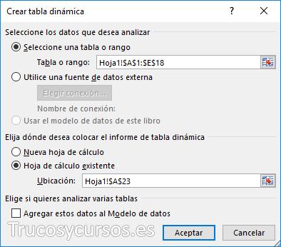 Ventana crear tabla dinámica en Excel