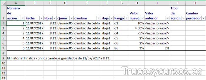 Nueva hoja Excel mostrando los cambios