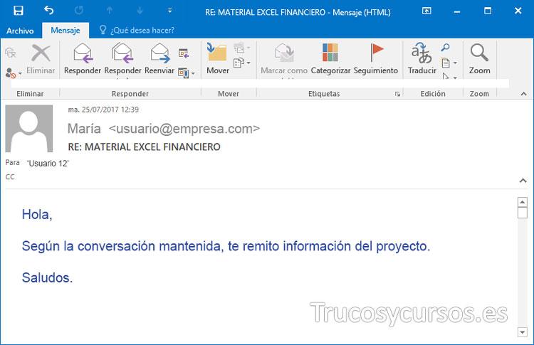 Vista del correo electrónico de Outlook vinculado