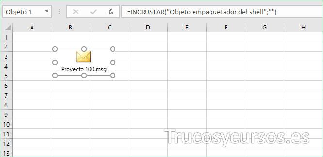 Hoja Excel con objeto correo electrónico incrustado